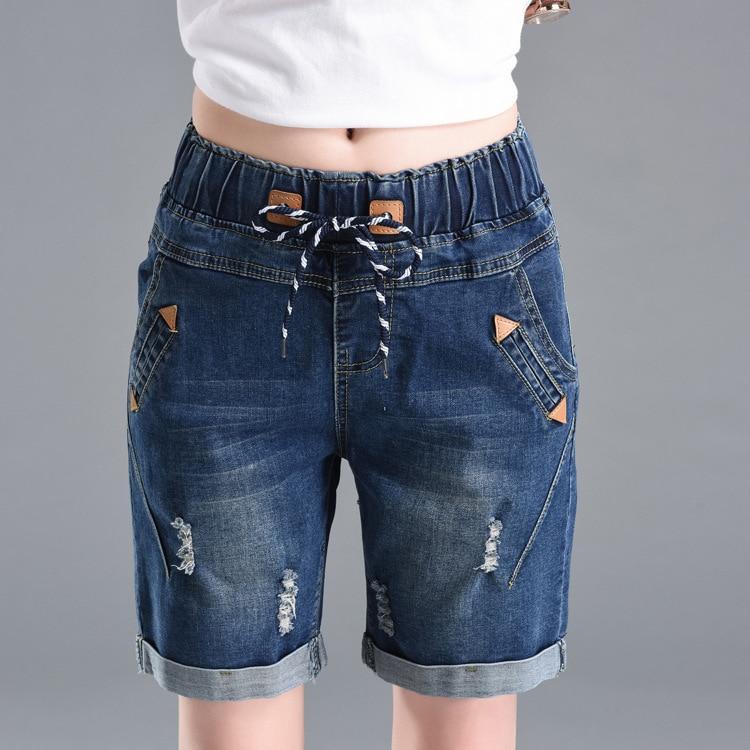 High Waist Jeans  Women Pants High Waist Elastic Straight Shorts Women Denim Jeans Fashion Casual Pants Womens Clothing