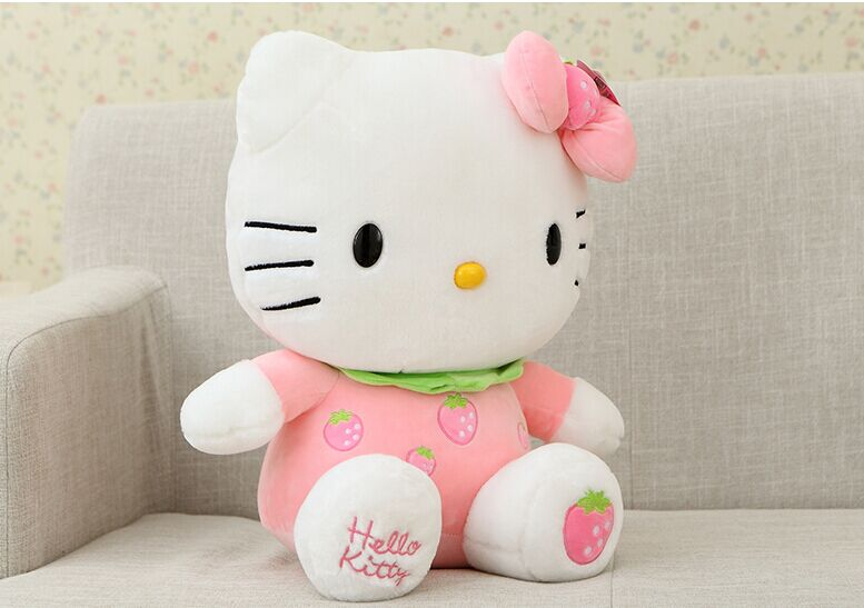 cute fruit design pink strawberry large 38cm hello kitty plush toy soft doll high quality birthday gift b4978 large pink strawberry fruit hello kitty