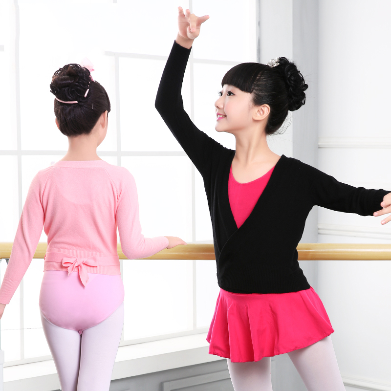 Winter Autumn Warm Child Girls Ballet Wrap Sweater Cardigan Dance Clothes Kids Warm Long Sleeve Waist Belt Sweater