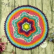 Original 40cm  Handmade Crochet Seat Cushion DIY Coaster Doilies  National Traits Wedding Table Decor Cup Pad Prop 4pcs/lot calico pattern coaster 4pcs