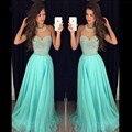 Rhinestones de lujo Con Cuentas Cabestro Vestidos de Baile 2017 Una Línea de Gasa Por Encargo de la Mujer Vestidos de Baile vestidos de formatura