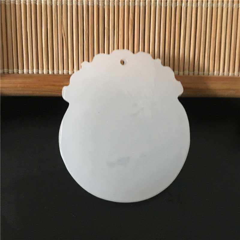 Pendentif en pierre blanche naturelle d'afghanistan collier 3D sculpté à la main Dragon chinois Kirin rond pendentifs de bijoux pour hommes avec corde