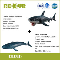 2 Pcs Lot Recur Blue Whale Great White Shark Delicate Hand Painted PVC Marine Collection Model