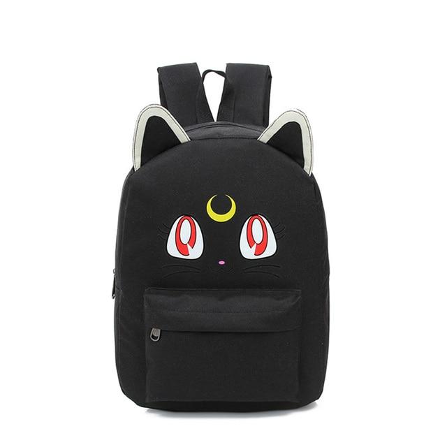 9ce3c159900b4 STANCHION Harajuku Sailor Moon Leinwand Rucksäcke Für Teenager Schule  taschen Nette Falten Katze Buch Tasche Rucksack