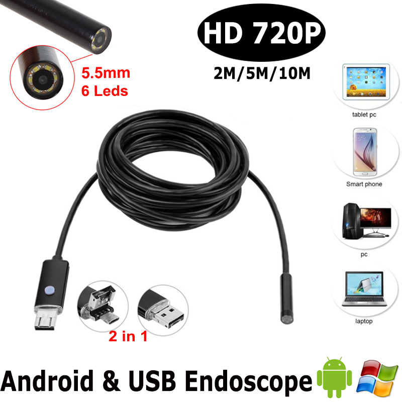 HD720P Android OTG USB Endoscope Camera 5.5mm 1m 2M 5M 10M Flexible Snake USB Pipe Inspection Borescope Android USB HD Camera headset bullet usb otg compatible android smartphones digital camera