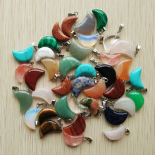 2017 high quality assorted natural stone crescent moon shape charms pendants for DIY jewelry making Wholesale 50pcs/lot free(China)