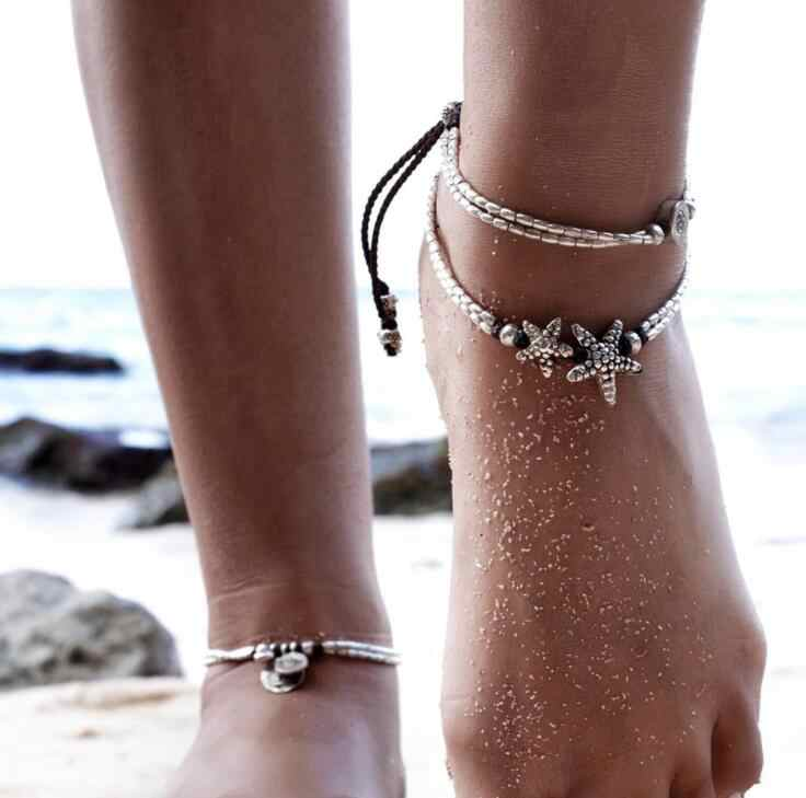 High Quality Vintage Bracelet Foot Jewelry Retro Anklet For Women Ankle Leg Chain Charm Starfish Beads Bracelet Beach Jewelry