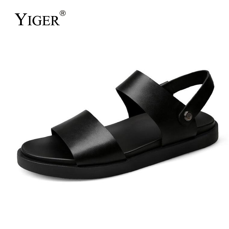 YIGER New Men Sandals Genuine Leather Summer Male Slides Casual Man Beach Sandals And Slippers Big Size Non-slip Soft  0317