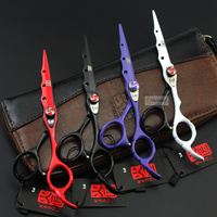 1set Stoving Varnish Kasho 6 0 Inch Hair Scissors Barber Hairdressing Tesoura De Cabeleireiro Hairdresser Styling