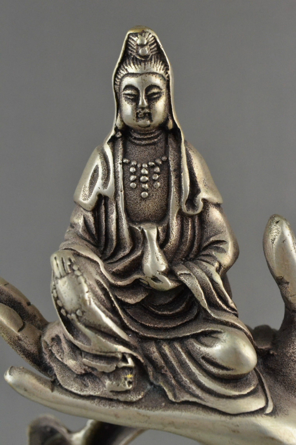 Collectible Decorated Old China Silver Carved Kwan-yin Sit In Buddha Hand Statue