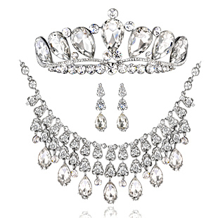 Vintage Fine Rhinestone Necklace+earrings+tiara Wedding Accessories Bride Jewelry Set