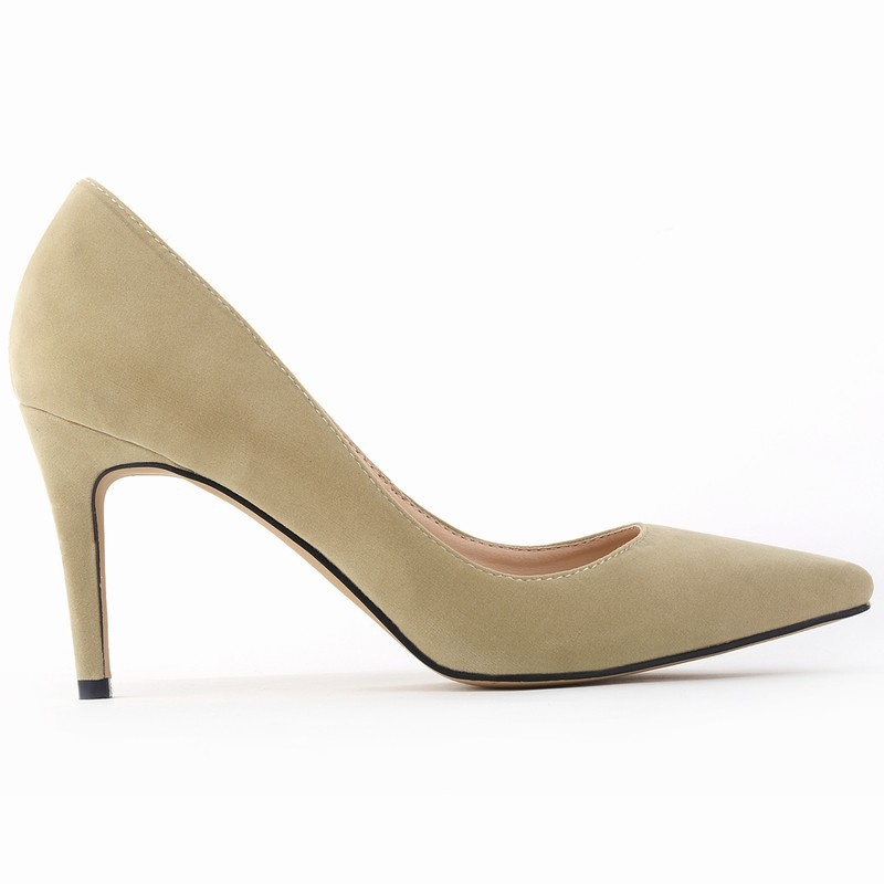 Classic Sexy Pointed Toe mid 8cm High Heels Women Pumps Shoes Faux Suede  Spring Part Wedding 1ab18831cd84