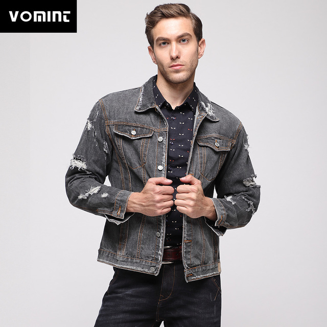 6861d67c3e Vomint 2019 New Mens Denim Jacket High Street Fashion Distressed Wash  Sleeve Holes Black Denim Single Breasted Jackets 4XL 5XL