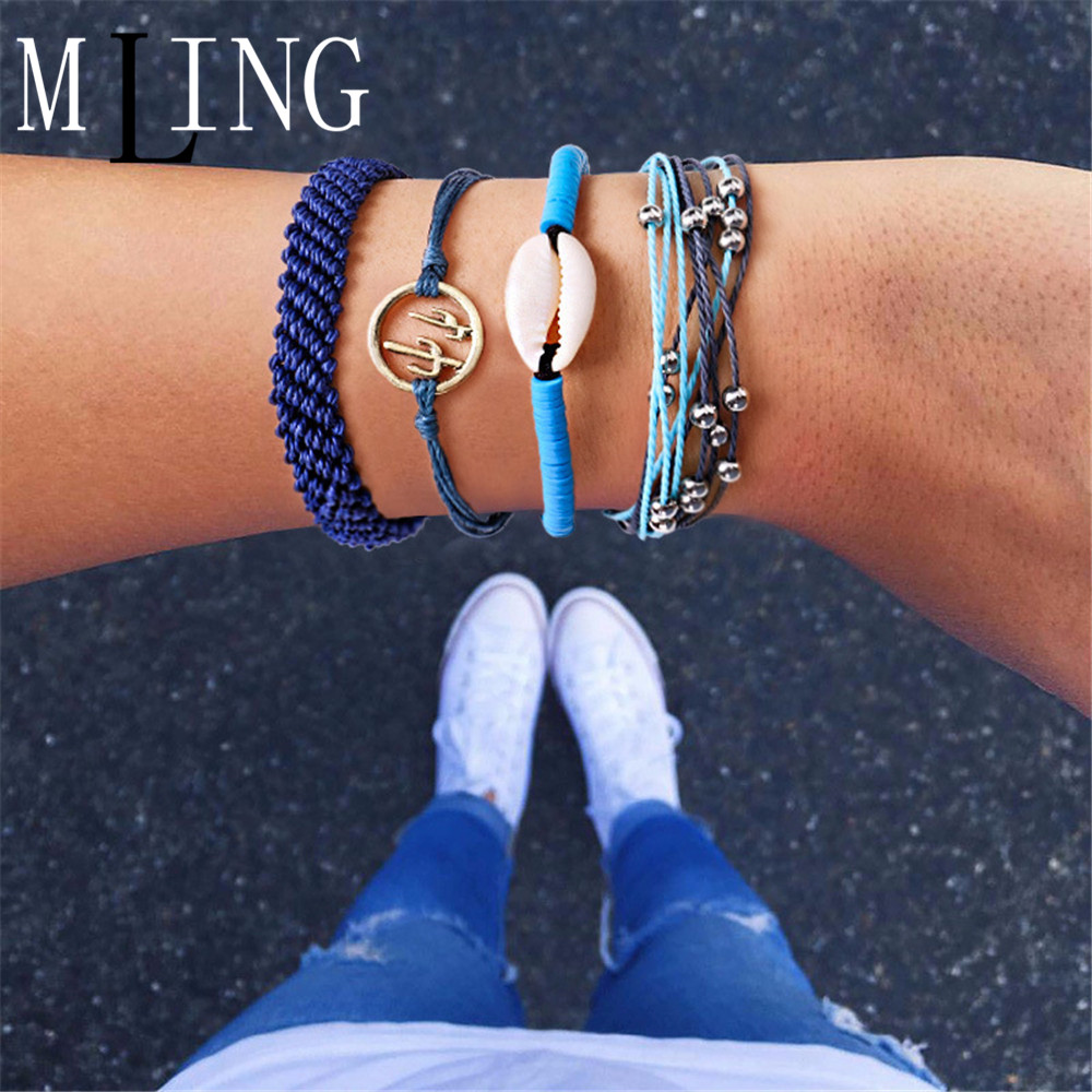 MLING 4 Pcs/Set Vintage Shell Cactus Bracelet Set For Women Weave Rope Chain Fashion Ocean Jeweley Gifts