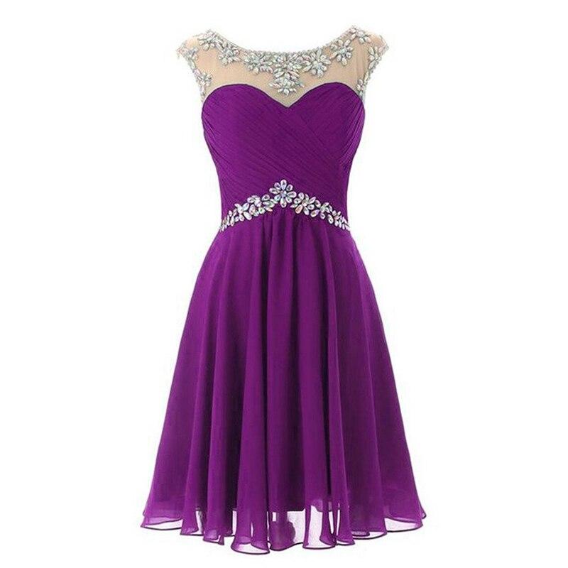 Doragrace New Fashion Vestidos De Festa Beaded Chiffon Short Party Dress Cocktail Dresses Plus Size