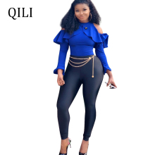 QILI 2019 New Arrivals Women Jumpsuits Ruffles Cold Shoulder Long Sleeve Patchwork Jumpsuit Skinny Pants Elegant