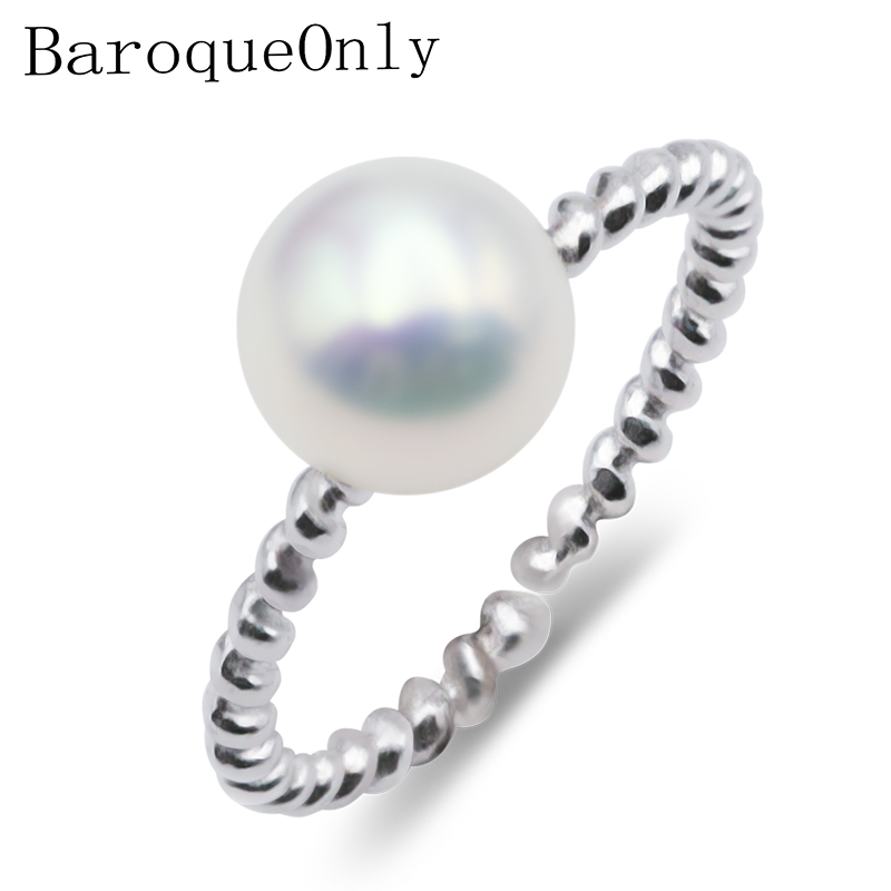 BaroqueOnly Classic 100% Genuine Freshwater Pearl Ring Elegant Ring For Women, Fashion 925 Sterling Silver Jewelry