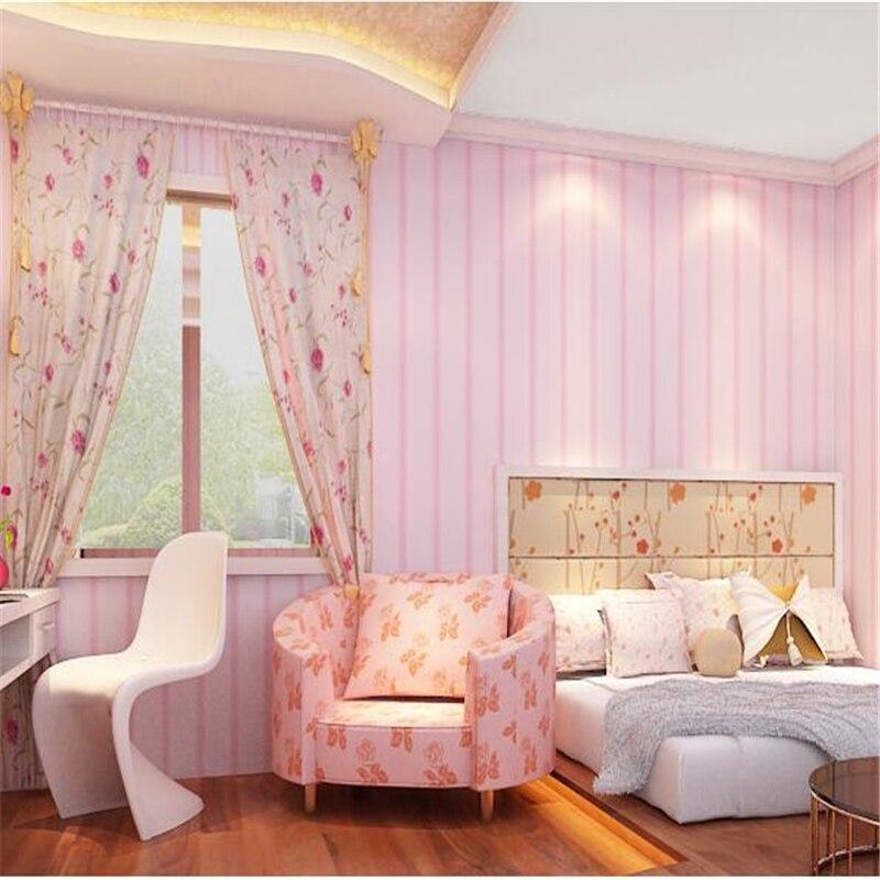 beibehang Green Pink Stripe Korean Girl Kids Princess Bedroom ...