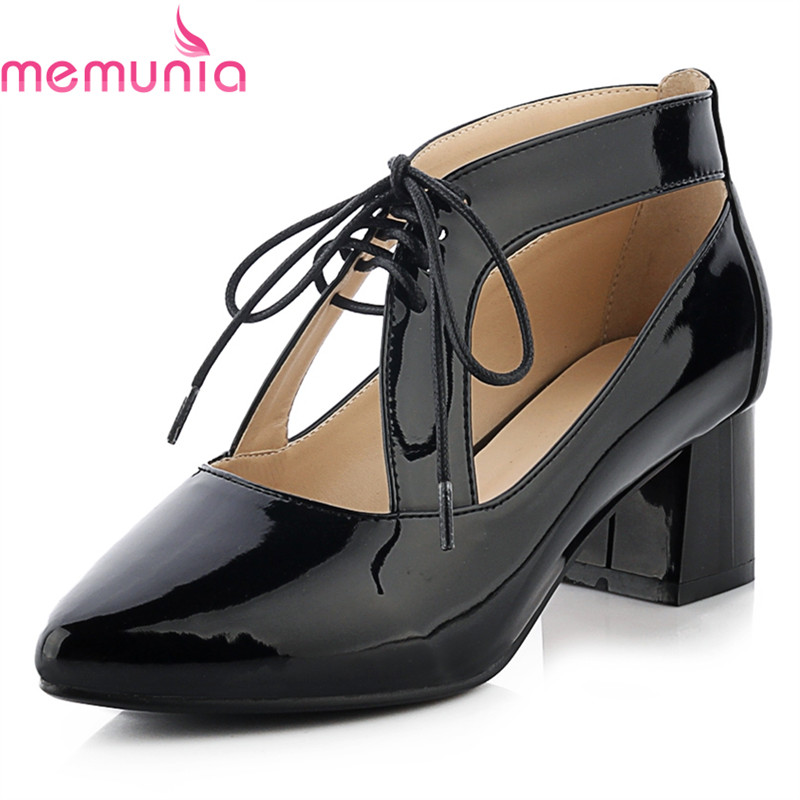 MEMUNIA new arrive high quality soft leather women pumps fashion lace up pointed toe med heel solid white casual shoes fashion new spring summer med high heels good quality pointed toe women lady flock leather solid simple sexy casual pumps shoes