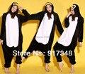 Animal de la historieta negro pingüino adulto Unisex Onesies franela Onesie pijamas sudaderas con capucha del mono ropa de noche del traje para adultos