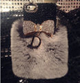 10 Colors Rex Rabbit Fur Case For iPhone 6 4.7(inch)Bowknot Fashion Luxury Diamond Case For iPhone6 rabbit Case diamond bow