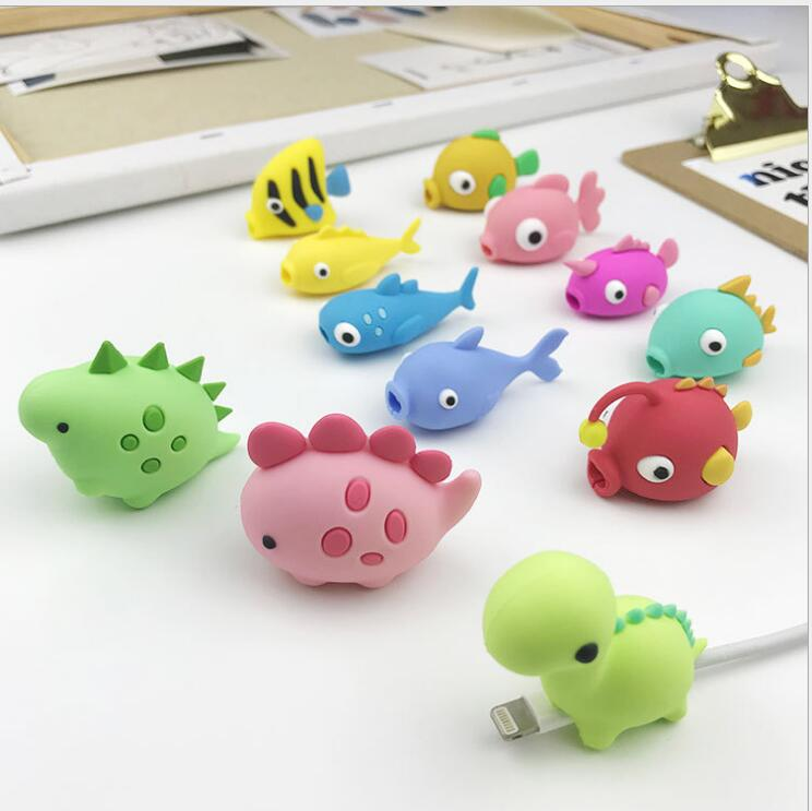 Cartoon Cute Fish Dinosaur Cable Protector Data Line Cord Protector Protective Cable Winder Cover For IPhone USB Charging Cable