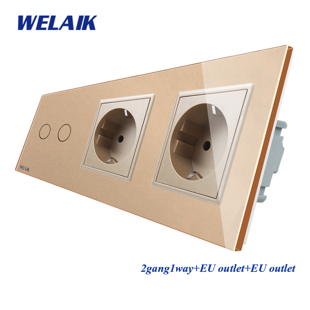 WELAIK 3Frame-Crystal Glass-Pane-Wall Switch-EU Touch-Switch  Wall-socket 2gang-1way AC110~250V A39218E8ECW/B
