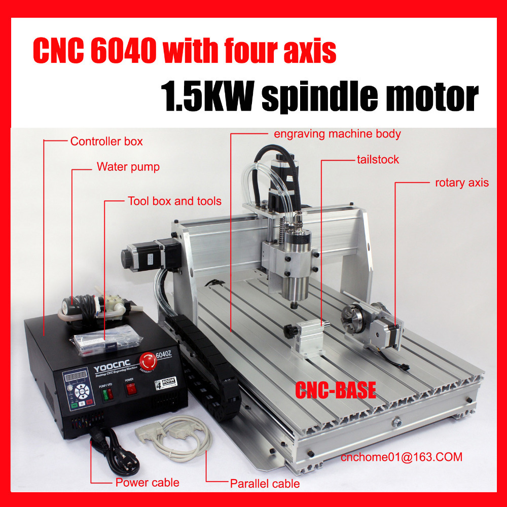 Ballscrew 4 axis 6040 1500W cnc router , wood carving router , mini cnc engraving machine , PCB milling machine , cnc engraver 5 axis cnc router 6040 cnc router 1500w spindle ball screw cnc 6040 engraver engraving machine