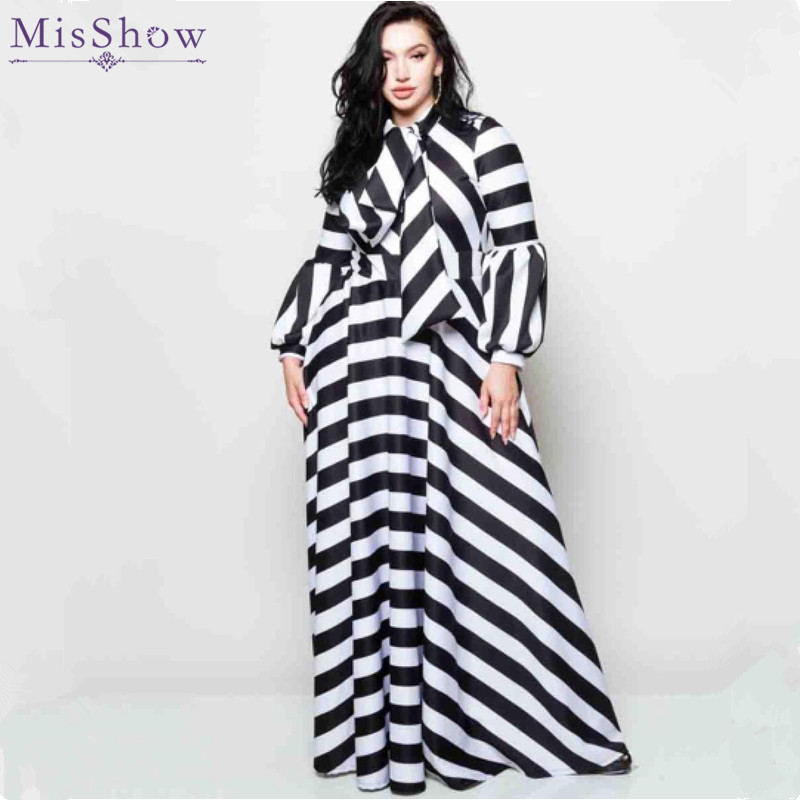 US $23.54 40% OFF|Misshow Plus Size Striped Lantern Sleeve Women Dress  Black White Casual Loose Bowtie Neck Maxi Dress for Women Robe Femme-in  Dresses ...