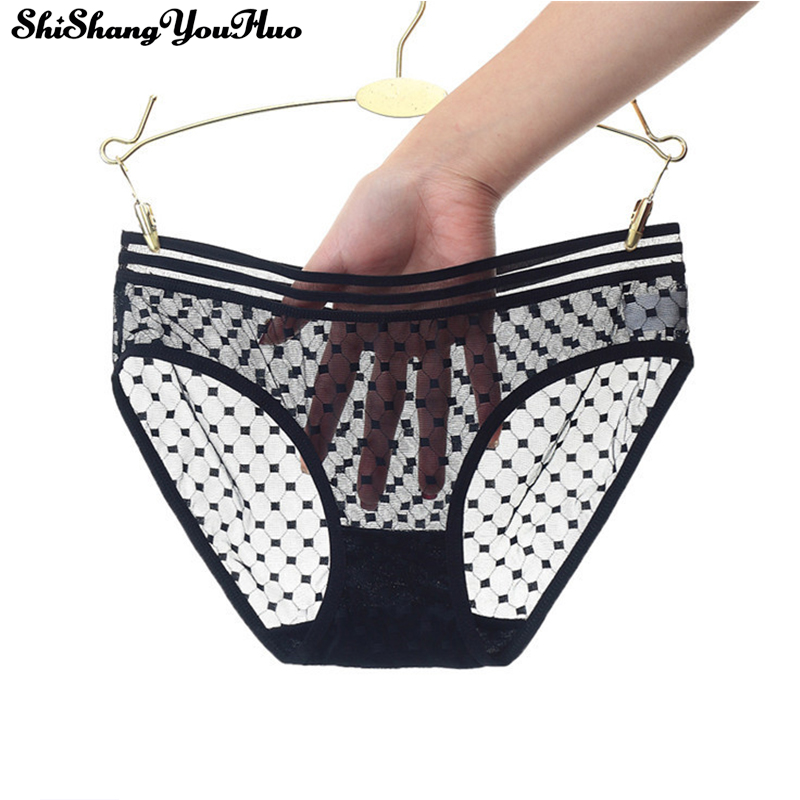 2019 New Women Sexy Seamless Briefs Ultra-Thin Transparent Flower Embroidered Patterned Underwear Cotton Lace   Panties   3318