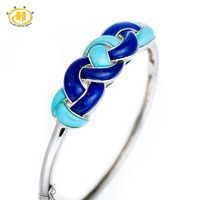 Hutang Stone Jewelry Genuine Lapis Lazuli & Turquoise Solid 925 Sterling Silver Woven Bangle Bracelet Wholesale Jewelry 7 1/4