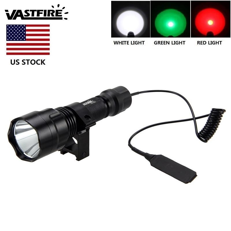 """עוצמה Lumens T6 LED LED לפיד ציד אור 3 צבע אור אדום / ירוק / לבן עבור ציד ארה""""ב במלאי"""