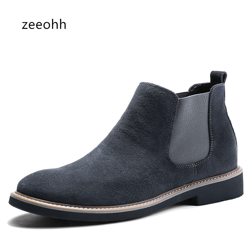 Men Cow Suede Boots Formal High Top Brands Ankle Work Dress Male Shoes Low Heel Oxfords Botas Masculino Motorcycle suede