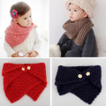 Ring Scarf Kids Winter Crochet Knitted Wool Scarves New Button Oblique Collar High Fashion Boys Girls Warm Accessories 1-6 Years