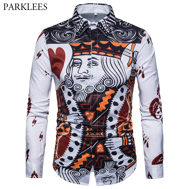 Funny 3D Poker K Print Men Shirt Mens Fashion Hipster Dress Shirts Autumn Casual Chemise Homme Covered Button Long Sleeve Camisa