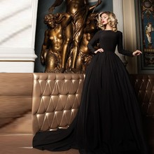 Einfache Chiffon Abendkleider Günstige Abendkleider Lange Ärmel Ballkleider Kleid Partei Um Vestido Longo Neue Ankunft