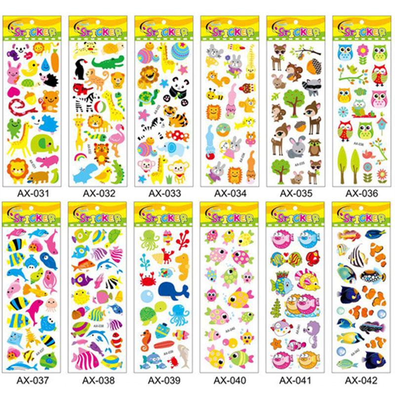 10Pcs Stickers Scrapbooking Stationery Kawaii 3D Sea Fish Bubble Sticker Notebook School Supplies Random