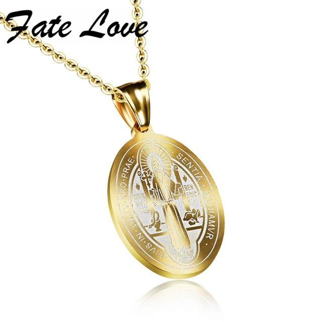 Fate Love Catholic Saints Saint Benedict Pendant Gold Color