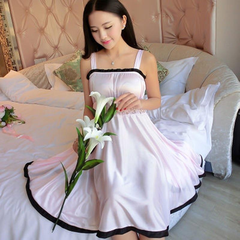 스파게티 스트랩 잠옷 여성 실크 잠옷 잠옷 레이스 - 속옷 - 사진 5
