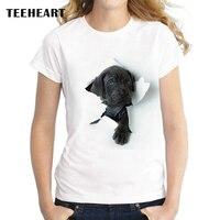 TEEHEART New Fashion Brand Cute Black Reveal Head Pet Dog Print O Neck Female T Shirt