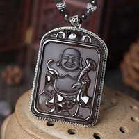 Alris Chicken 925 Silver Inlay Ice Stone Crystal Male Female Diy Real Stone Obsidian Jewelry Pendant