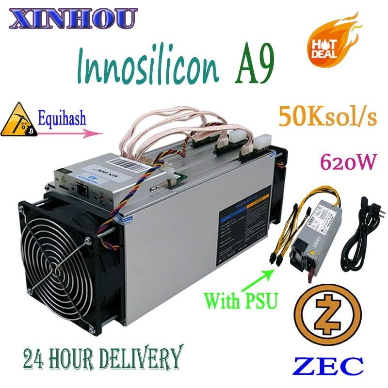 Utilizzato Asic Minatore Innosilicon A9 ZMaster 50 k sol/s Con 750 w PSU Equihash Zcash ZEC ZCL BTG di estrazione mineraria Meglio di Antminer Z9 Z9 mini