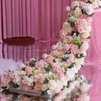 2.1 Meter length White with hot pink roses Wedding Flower table runner Artifical Silk Flower Backdrop Wedding Decoration