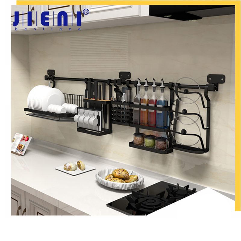 JIENI Black Painting Kitchen Room Dish Rack Tool Holder Shelves Pot Rack Spice Rock Solid Brass Shelf Chopstick Holder kitchen dish rack 2 tier black dish drainer drying rack washing organizer large capacity holder
