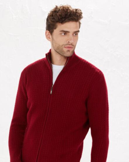 100�shmere Red Sweater Men's Zipper Cardigan Turtleneck White ...