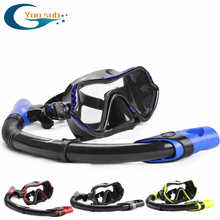 free High Quality  Glass Diving Mask And Snorkel Set can scuba Goggles and a breathing tube adult