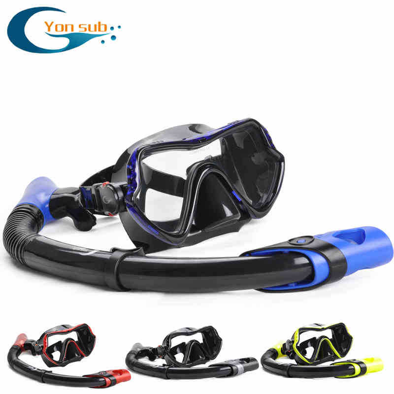 free High Quality  Glass Diving Mask And Snorkel Set can scuba Diving Goggles and a breathing tube adult YM370+YS03 high grade 270 degrees diving masks breathing tube snorkel suits swimming