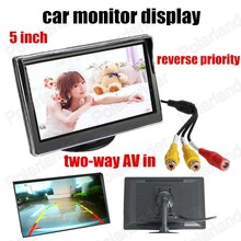Wholesale prices HD digital TFT LCD Screen 5 Inch LCD Car Colorful Monitor Backup rearview Camera DVD reverse priority two-way AV in