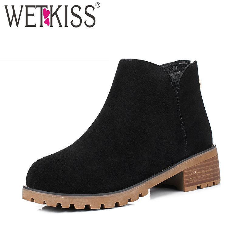 WETKISS Spring Women Ankle Boots 2018 Brand Fashion Square Thick Heels Ladies Shoes Zipper Round Toe Cow Suede Footwear Big Size egonery quality pointed toe ankle thick high heels womens boots spring autumn suede nubuck zipper ladies shoes plus size