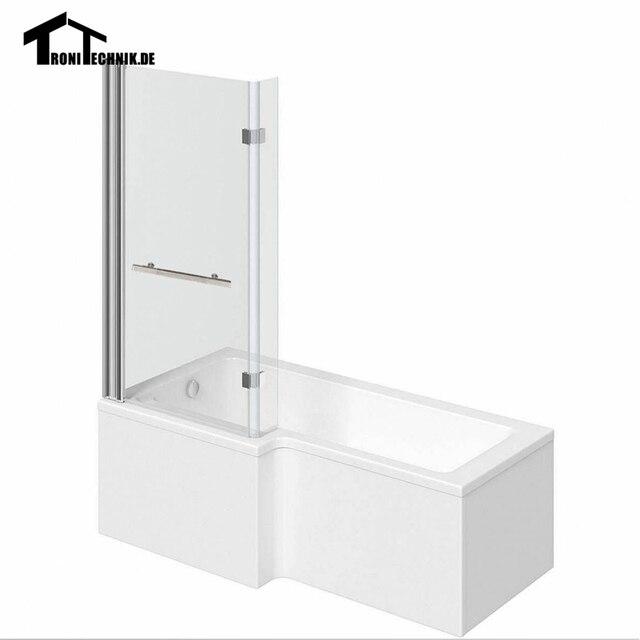 Badewanne 1700mm L Geformte Dusche Platz Links Hand 6mm Glas